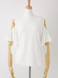 肩あきラッフルスリーブTシャツ ホワイト