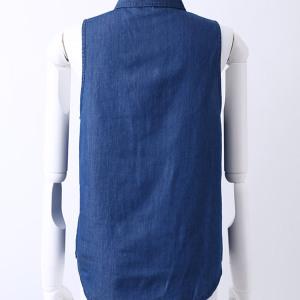 テンセルデニムノースリーブシャツ ブルー