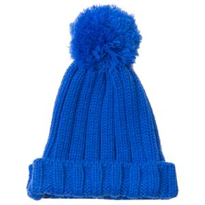 カラーケーブルニット帽 ブルー
