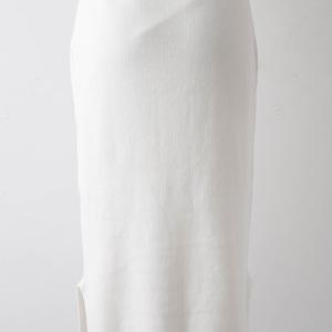 裾スリットゴム編みロングニットスカート オフ