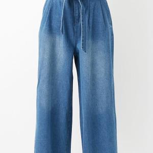 10ozデニム共ベルト付きワイドパンツ ブルー